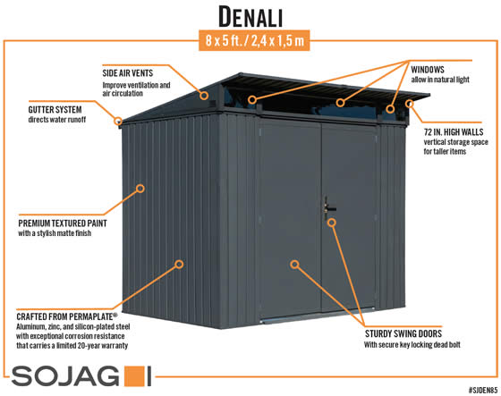Sojag 8x5 Denali Shed Features and Benefits