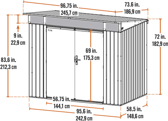 Sojag 8x5 Denali Shed Measurements Diagram
