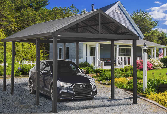 Sojag Samara 12x20x7 Metal Carport Kit Assembled In Driveway