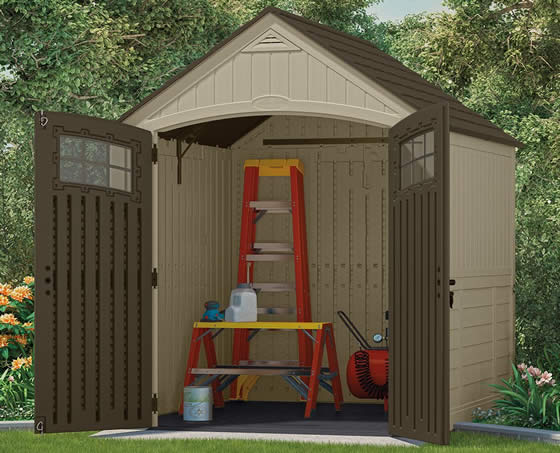 Suncast 7x7 Sutton Plastic Shed Assembled in Backyard