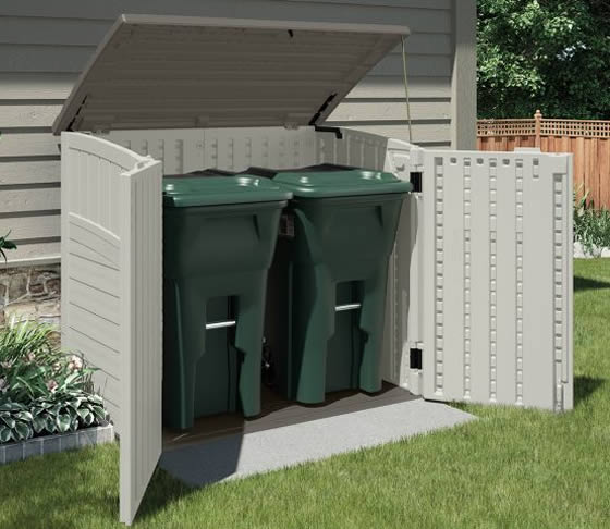 Suncast Horizontal Shed Used For Garbage Can Storage