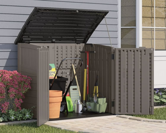 Suncast Horizontal Shed Used For Lawn and Garden Storage