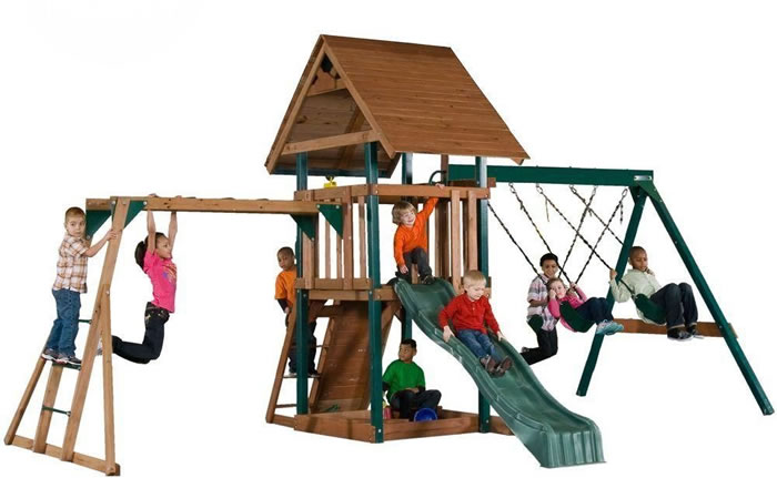 Swing-N-Slide Skyrise Deluxe Wood Playset w/ Monkey Bars