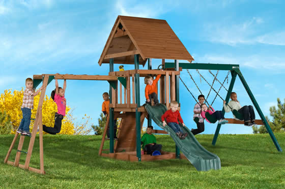 Swing-N-Slide Skyrise Deluxe Wood Playset in backyard