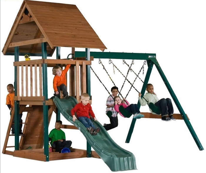 Swing-N-Slide Skyrise Wood Playset w/ Clubhouse