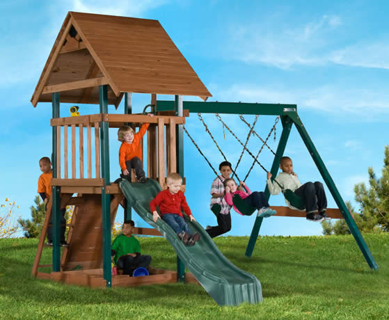 Swing-N-Slide Skyrise Wood Playset in backyard