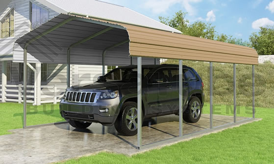 Versatube 12x20x7 Carport - Shown in Tan Color
