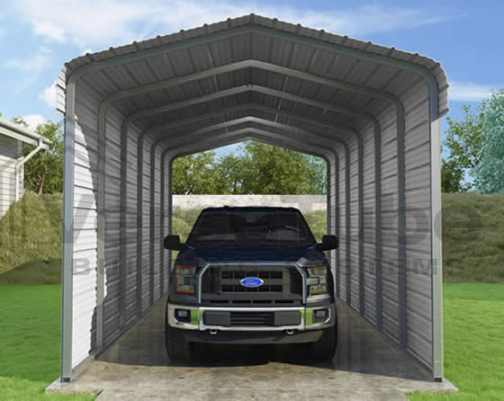 Versatube 2-Sided 12x29x10 Steel Carport Kit - 2 Covered Sides With Easy Drive In and Exit Access