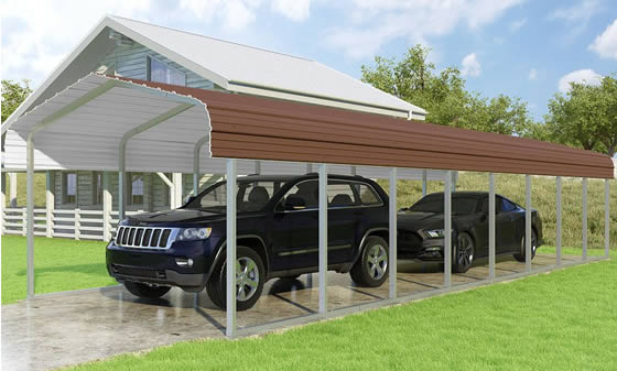 Versatube 12x38x7 Carport - Shown in Brown Color
