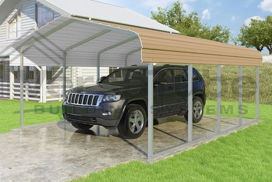 Versatube 14x20x7 Carport - Shown in Tan Color