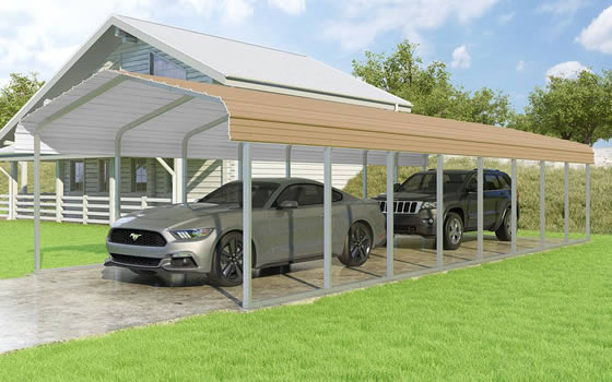Versatube 14x38x7 Carport - Shown in Tan Color