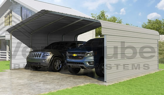 Versatube 2-Sided 20x20x7 Carport - Shown in Gray Color