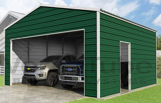 VersaTube 20x20x10 Frontier Steel Garage Kit - Shown in White Roof and Trim with Green Siding