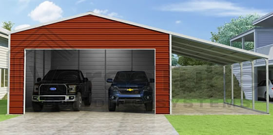 VersaTube 20x20x10 Frontier Garage Kit w/ Lean-To Carport - Shown in White Roof and Trim with Red Siding
