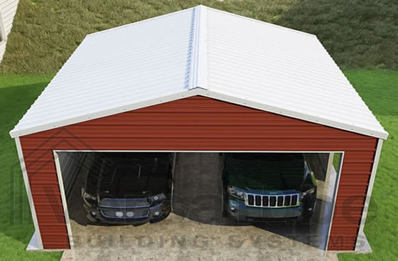 Versatube 20x20x8 Frontier Garage - Shown with Red Siding and White Roof and Trim