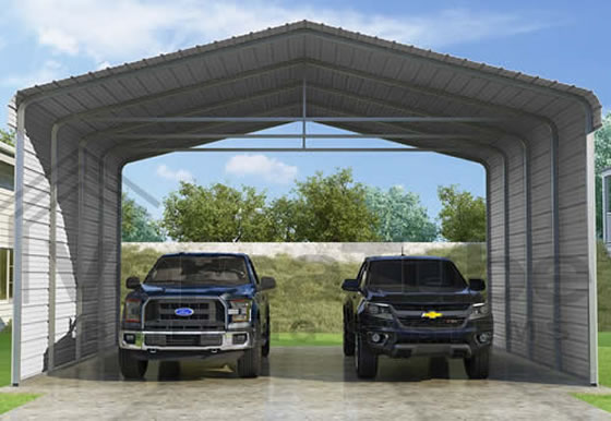 Versatube 2-Sided 24x20x12 Steel Carport Kit - 2 Covered Sides With Easy Drive In and Exit Access