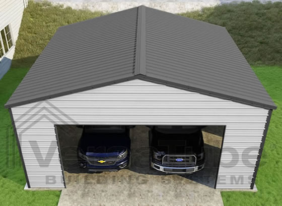 VersaTube 24x24x10 Frontier Steel Garage Kit - Shown in Charcoal Roof and Trim with White Siding