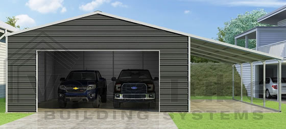 VersaTube 24x24x10 Frontier Garage Kit w/ Lean-To - Shown in White Roof and Trim with Charcoal Siding
