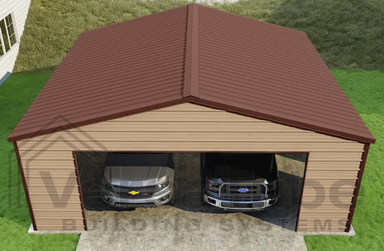 VersaTube 24x24x8 Frontier Steel Garage Kit - Shown in Brown Roof and Trim with Tan Siding