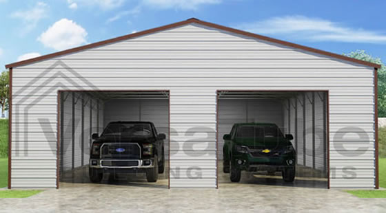 VersaTube 30x40x10 Frontier Steel Garage Kit - Shown in Brown Roof and Trim with White Siding