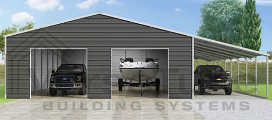 VersaTube 30x40x10 Frontier Garage Kit w/ Lean-To - Shown in White Roof and Trim with Charcoal Siding