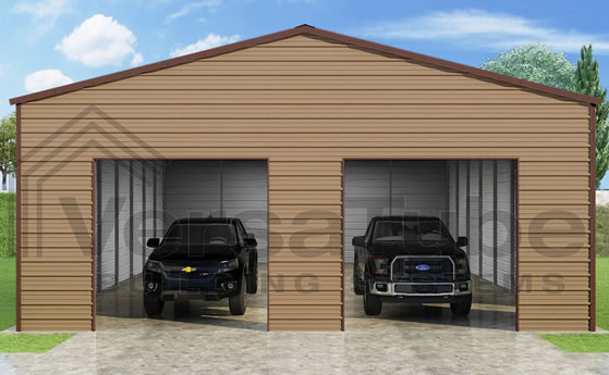 VersaTube 30x40x12 Frontier Steel Garage Kit - Shown in Brown Roof and Trim with Tan Siding