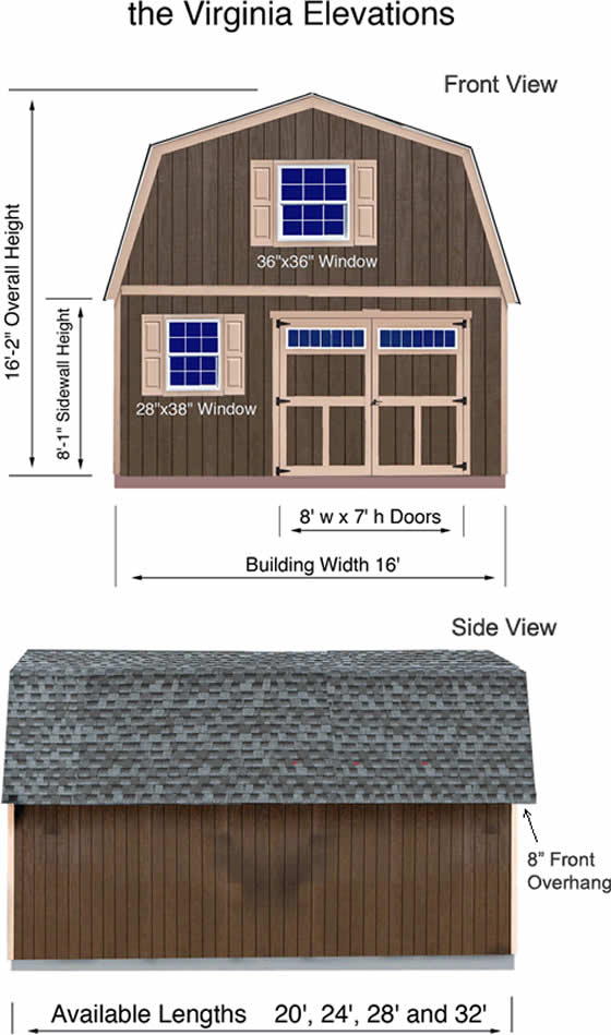 Virginia 16x20 Wood Shed Dimensions