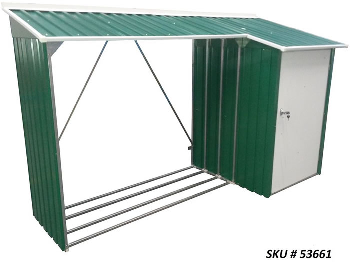 DuraMax 8x3 Woodstore Combo Steel Shed Kit - Green
