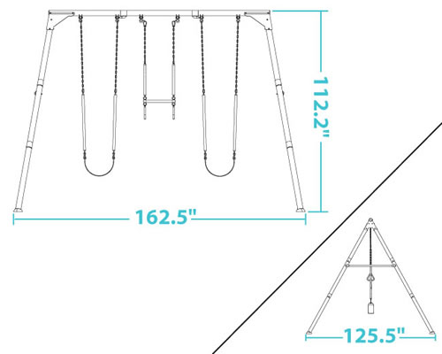 Lifetime 290038 Swing Set Dimensions