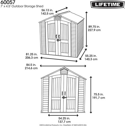 Lifetime Shed Model 60057 Dimensions