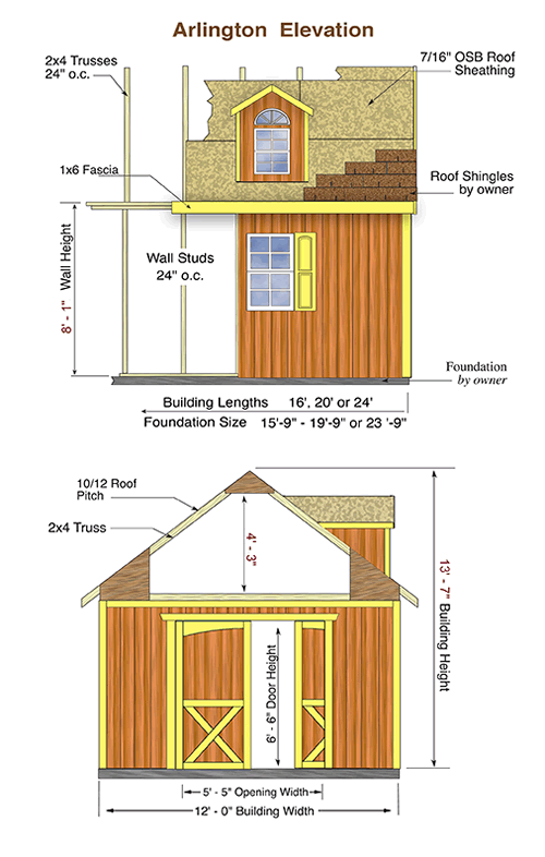 Arlington Wood Storage Shed Measurements