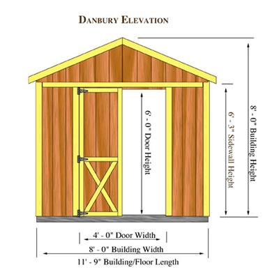 Danbury 8x12 Wood Storage Shed Kit Danbury 812