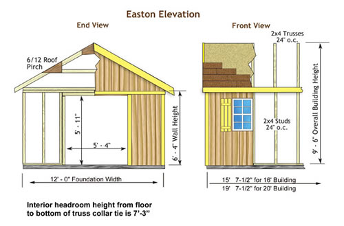 Easton 16x12 Outdoor Wood Storage Shed Kit