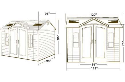 Lifetime 10x8 Plastic Backyard Storage Shed 60001 Dimensions