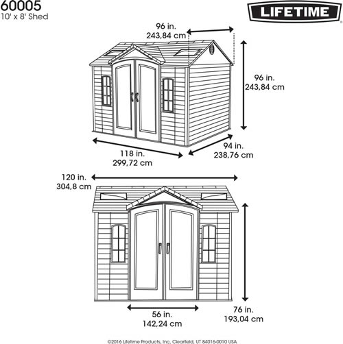 Lifetime 10x8 Plastic Shed 60005 Dimensions