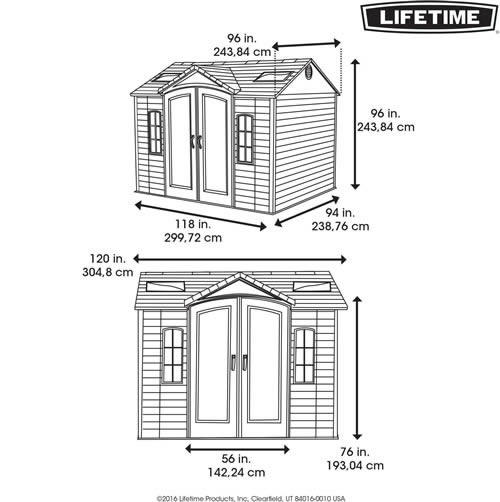 Lifetime 10x8 Plastic Shed 60084 Dimensions