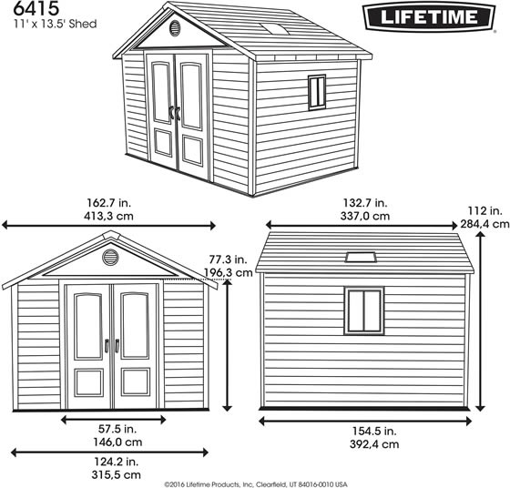 Lifetime 11x13 Plastic Outdoor Storage Shed 6415 Dimensions ...