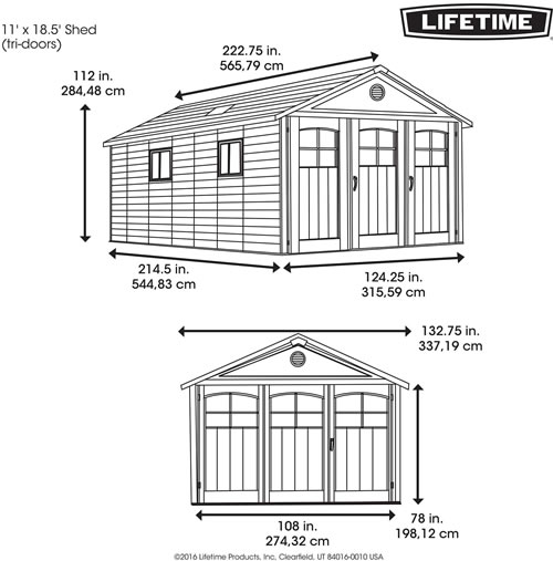 Lifetime 11x18 Plastic Storage Shed 60236