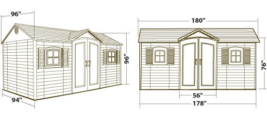 Lifetime 15x8 Vertical Siding Shed 60138 Dimensions