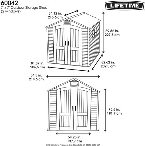 Garden Sheds 7x7 lifetime 7x7 plastic storage shed w/ two windows (60042)