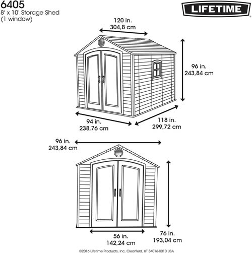 Lifetime 8x10 Plastic Outdoor Storage Shed 6405 Dimensions