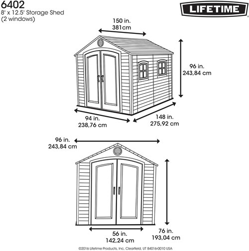 Lifetime 8x12 Plastic Outdoor Storage Shed 6402 Dimensions