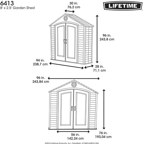 Lifetime 8 x 2.5 Plastic Outdoor Storage Shed Dimensions