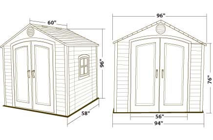 Lifetime 8x5 Plastic Outdoor Storage Shed 6406 Dimensions