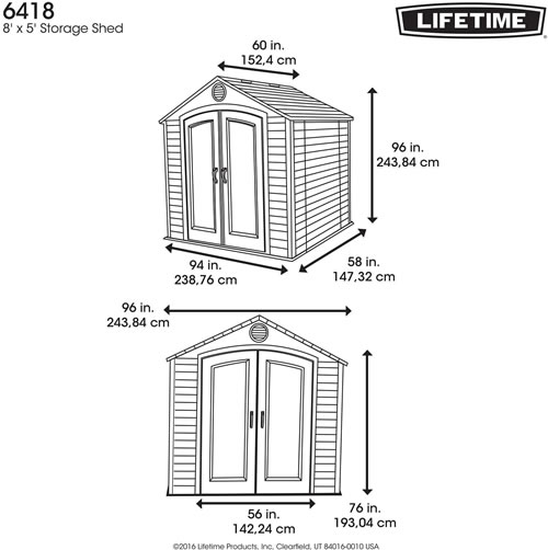 Lifetime 8 x 5 Plastic Outdoor Storage Shed Dimensions