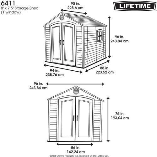 Lifetime 8x7 Plastic Outdoor Storage Shed 6411 Dimensions